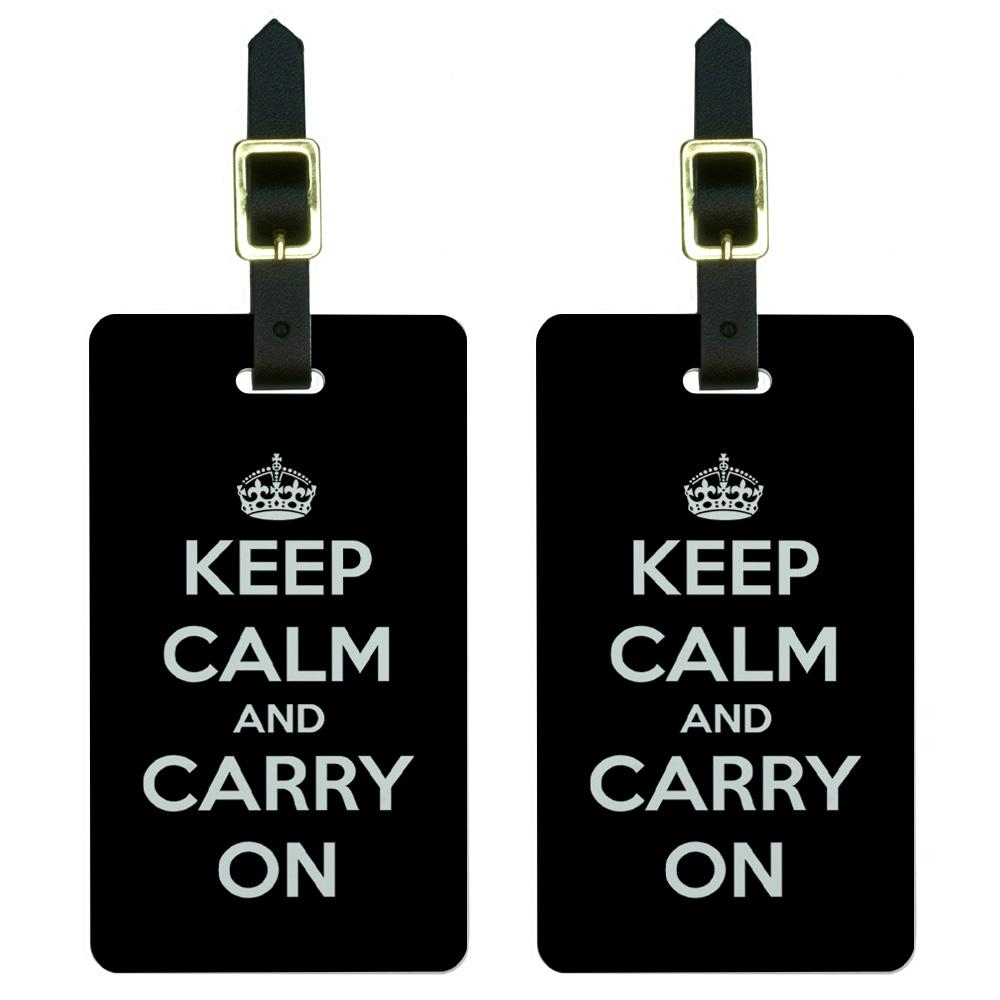 Keep Calm and Carry On Black Luggage Tag Set