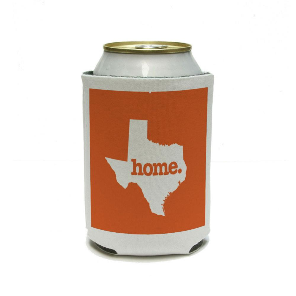 Texas TX Home State Can Cooler Drink Insulated Holder - Solid Orange
