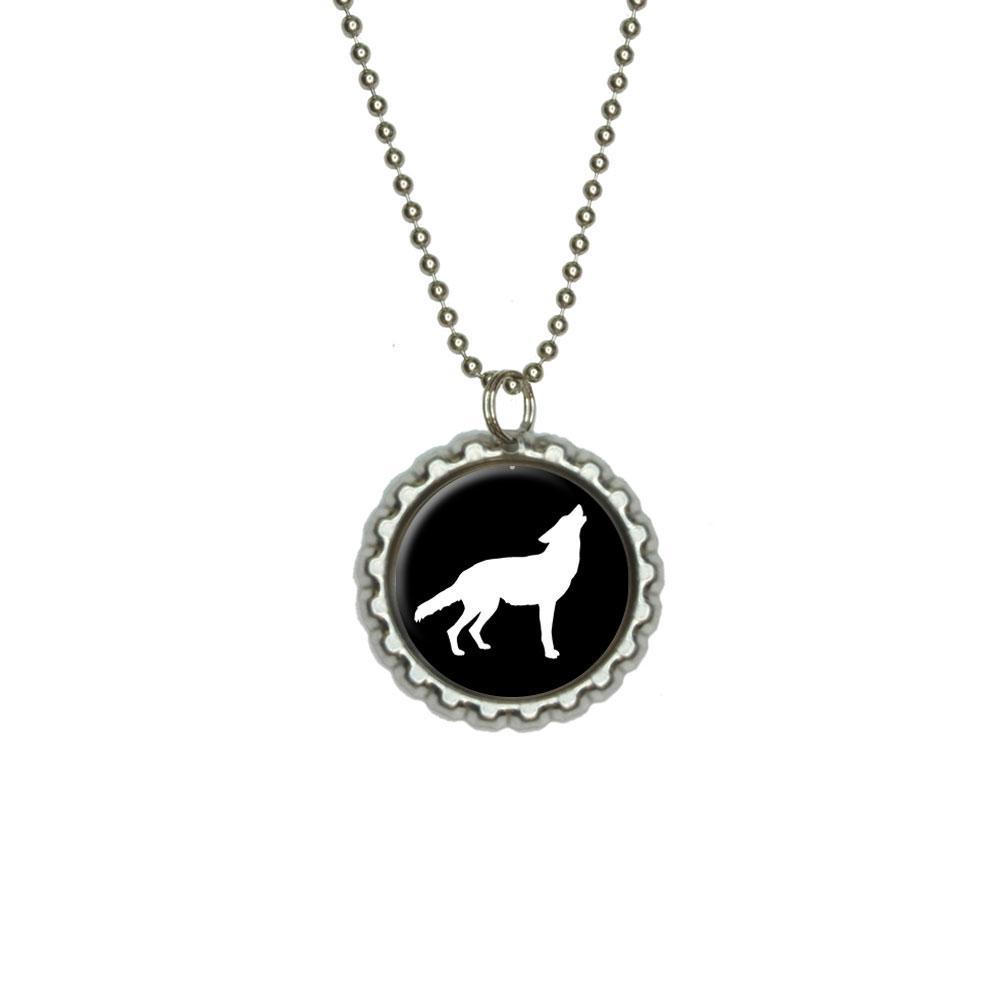 Wolf Howling Flat Bottlecap Pendant