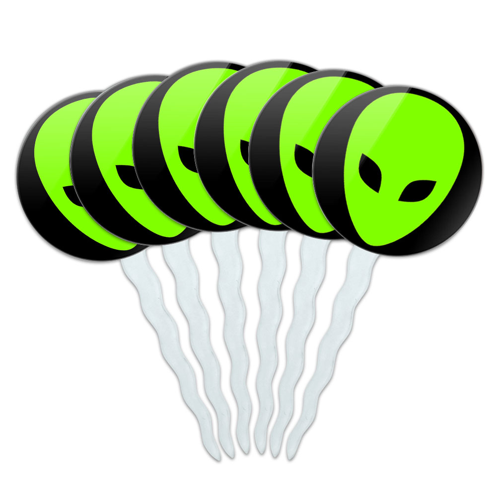Set of 6 Cupcake Picks Toppers Decoration Space and Aliens ...
