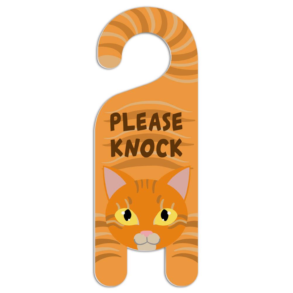 Orange Cat Do Not Disturb Plastic Door Knob Hanger Warning Room Sign ...