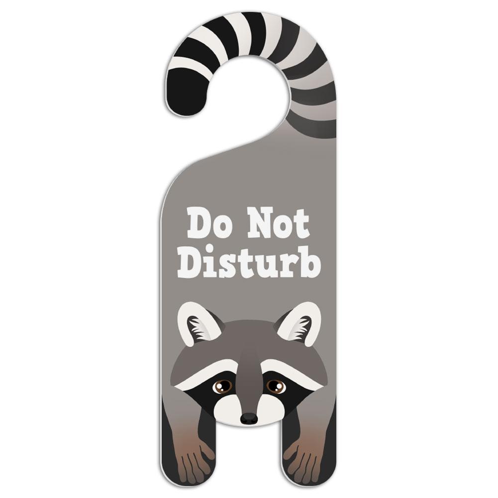 Raccoon do not disturb plastic door knob hanger warning room sign ebay - Diy do not disturb door hanger ...