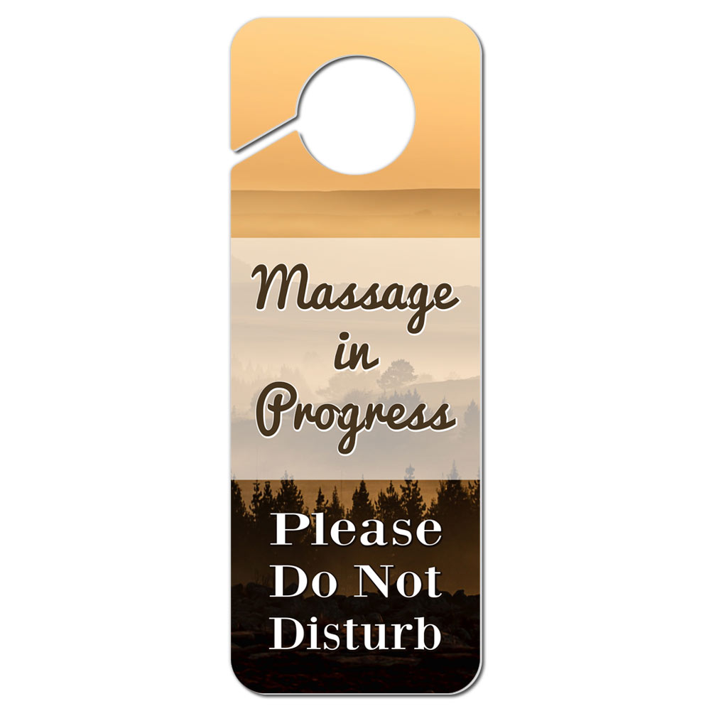 Do not disturb plastic door knob hanger sign massage in progress please ebay - Diy do not disturb door hanger ...