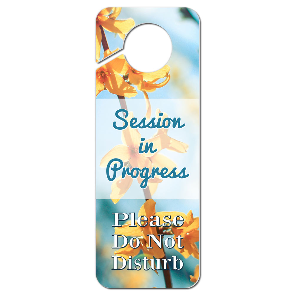 session in progress door sign