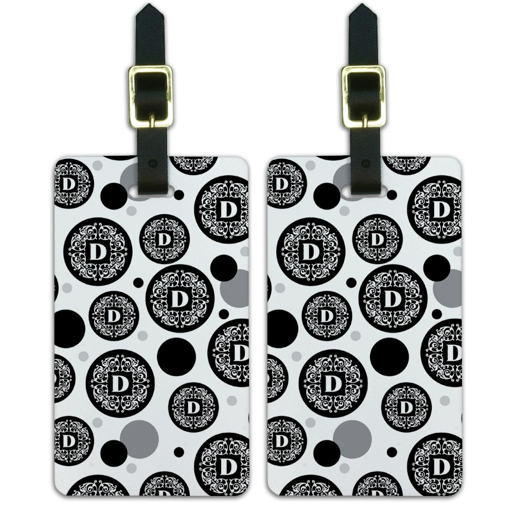 Luggage-Suitcase-Carry-On-ID-Tags-Set-of-2-Letter-Initial-Scrolls-Black-White