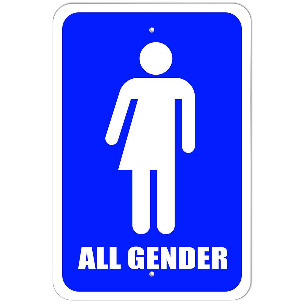 plastic sign all gender bathroom - neutral transgender transexual