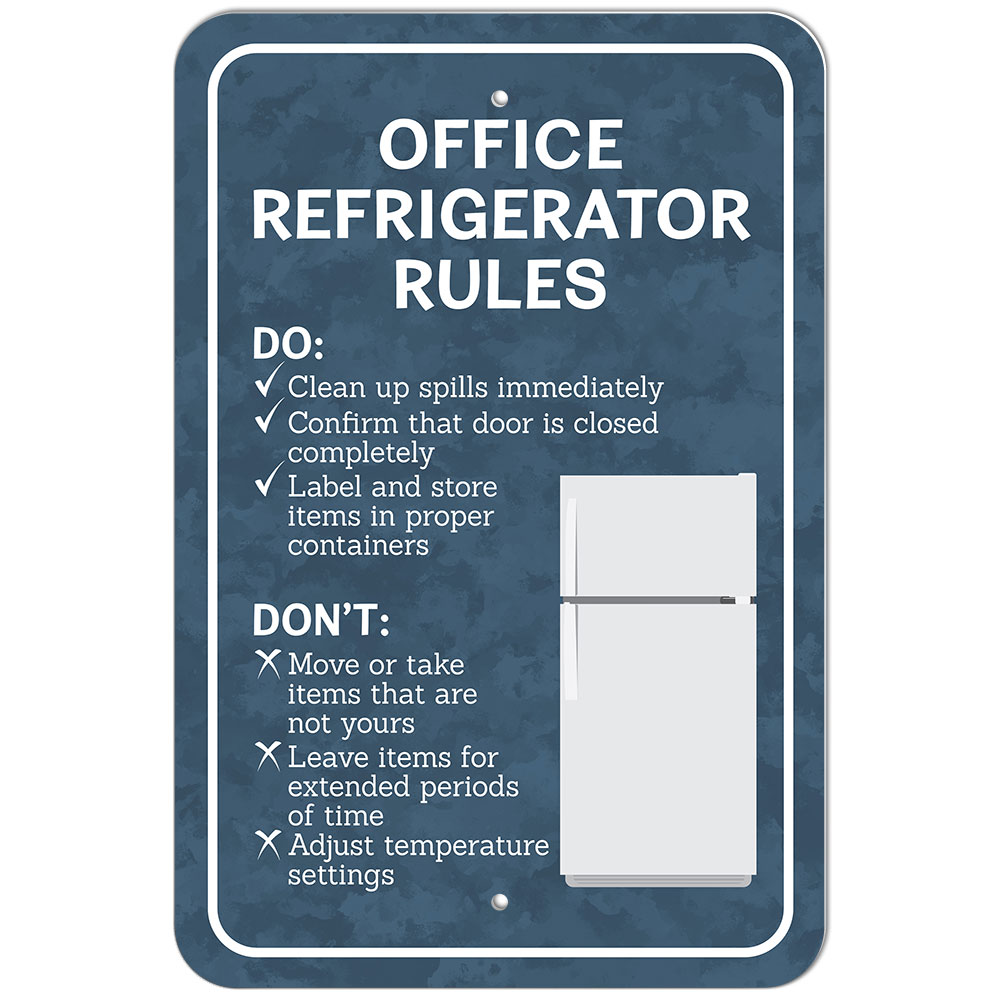 Plastic Sign Office Refrigerator Rules | eBay