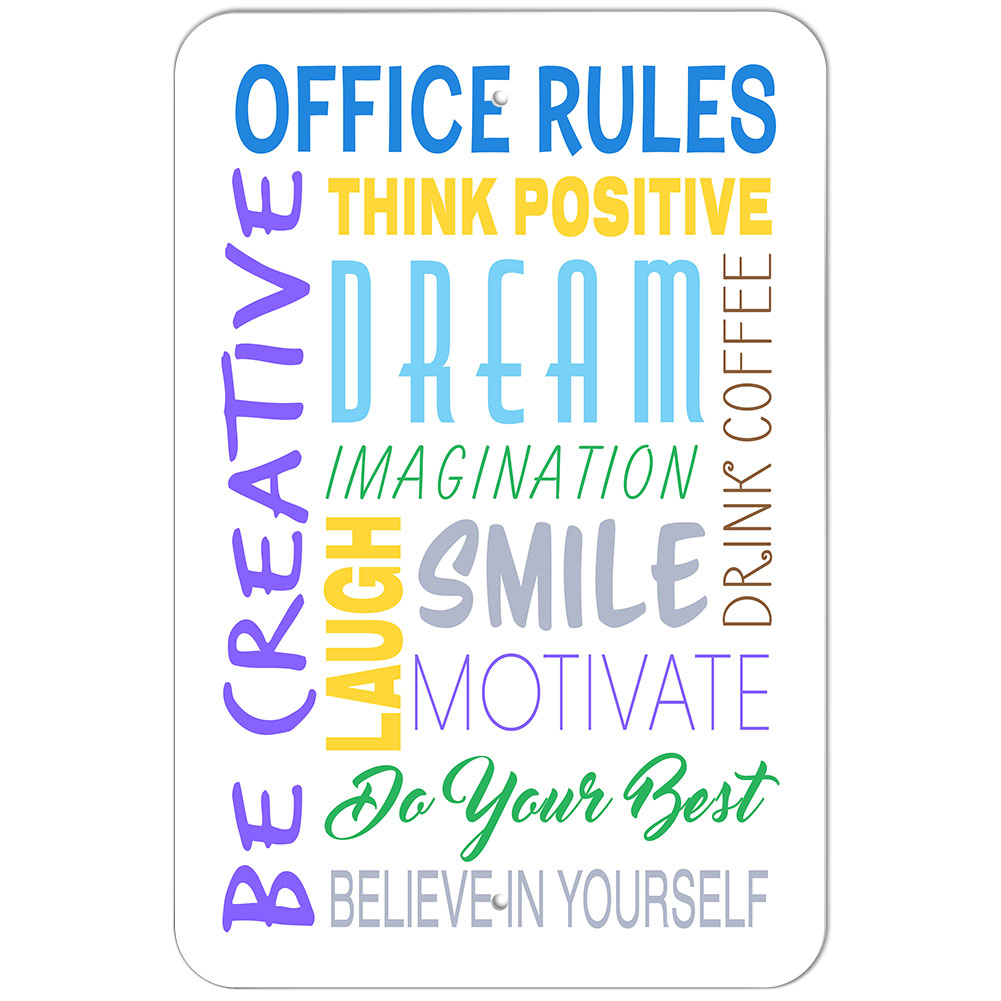 Motivational Words Plastic Sign Office Rules Inspirational Motivational Words  Ebay