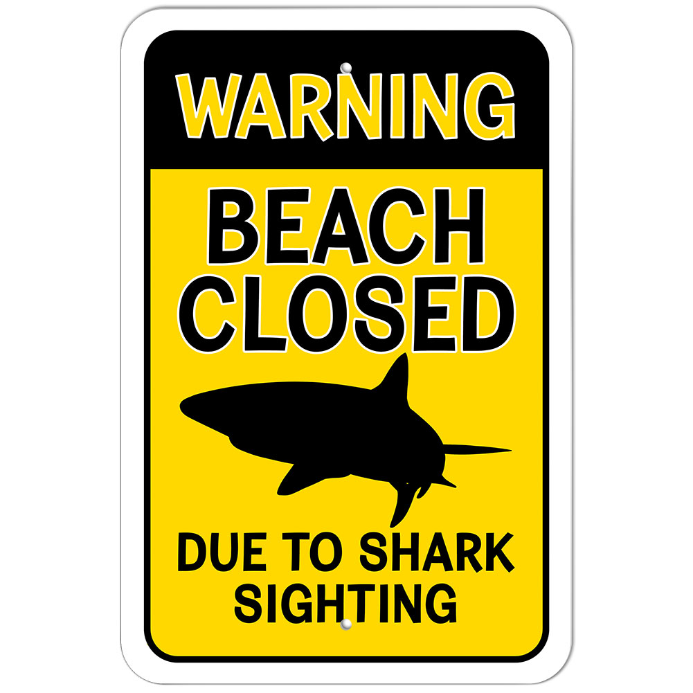 plastic sign warning beach closed due to shark sighting ebay