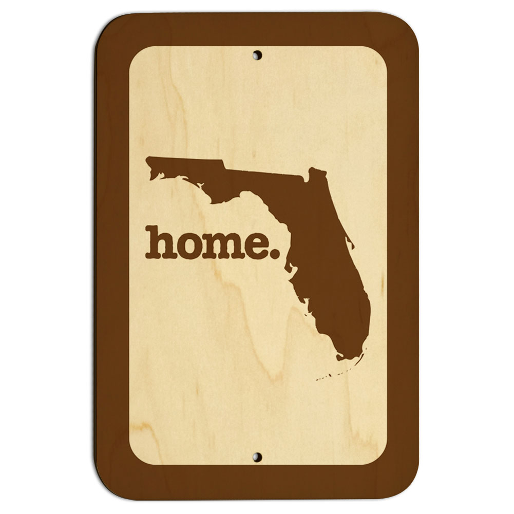 "Florida FL Home State 9"" x 6"" Wood Sign"
